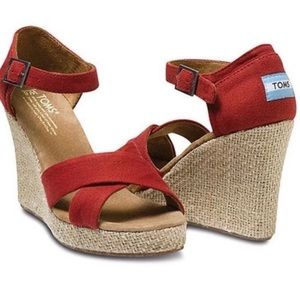 TOMS Red Espadrille Wedges, Size 8